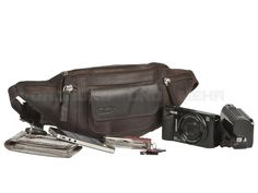 Kalahari KAAMA L-8 - Leder Bauchtasche Fototasche Kameratasche - antikbraun 440508