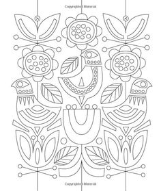 Just Add Color: Mid-Century Modern Animals: 30 Original Illustrations To Color, Customize, and Hang: Jenn Ski: 978159253 Folk Embroidery, Hand Embroidery Patterns, Embroidery Stitches, Embroidery Designs, Scandinavian Embroidery, Scandinavian Folk Art, Bordado Popular, Coloring Books, Coloring Pages