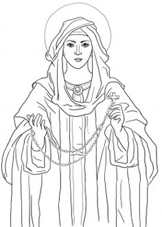 Our Lady of the Rosary Catholic Coloring Page