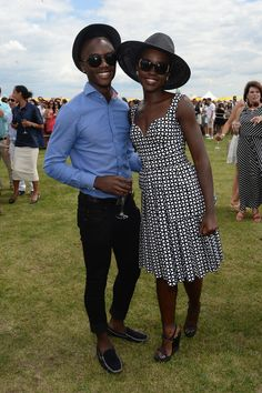 Lupita Nyongo', and her brother Peter, Veuve Clicquot Polo Classic on May 31st 2014.