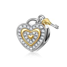 "50% OFF SALE PRICE - $30.99 - NinaQueen ""Love You Forever"" 925 Sterling Silver Cubic Zirconia Lock Key Love Dangle Heart Shape Design Charms"