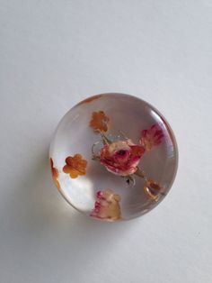 Resin, rose and cut petals, in memory of Thal
