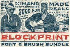 Blockprint Font & Brush Pack  @creativework247