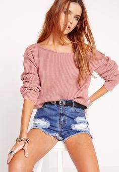 Off Shoulder Cropped Jumper Pink - Missguided