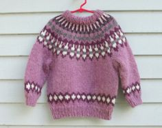 Items similar to Girls Icelandic Sweater, size 4 to Handmade Purple Wool on Etsy Icelandic Sweaters, Vintage Marketplace, Girls Sweaters, Pullover, Wool, Knitting, Trending Outfits, Purple, Handmade Gifts