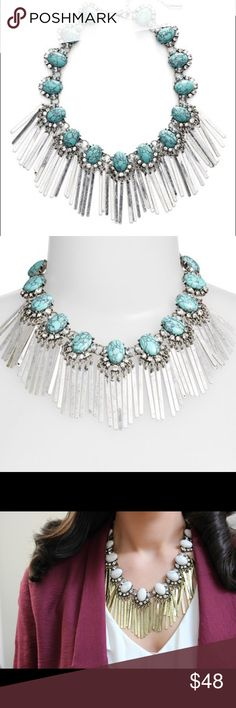 Baublebar showgirl fringe bib in turq stone This statement necklace is so glam! Love it for all year long :) Baublebar Jewelry Necklaces