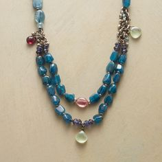 """AEGEAN BLUES NECKLACE--Polished nuggets of apatite show off their ocean blues in an adjustable leather necklace accented with sterling silver beads and iolite, prehnite, garnet and pink tourmaline. Exclusive. 20"""" to 29""""L."""