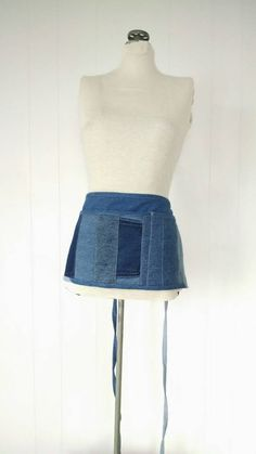 8dcdc18b80 Recycled Denim Vendor Apron with Hidden Zippered Pocket Upcycled
