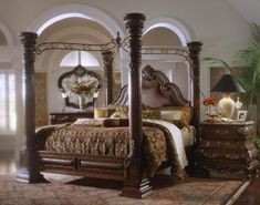 King Canopy Bedroom Sets aico monte carlo poster canopy bed in silver snow   master bedroom
