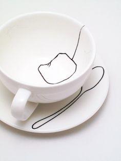 Teabag Teaspoon Cup and Saucer