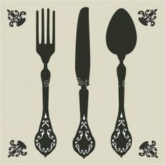 Knife, Fork and Spoon Cutlery Wall Stencil Stencils, Stencil Art, Fun Crafts, Arts And Crafts, Knife Template, Cutlery Storage, Forks And Spoons, Silhouette Cameo Projects, Kirigami