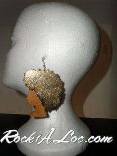 Wood Earrings - Afro Girl Earrings (Lg, black/gold glitter) – Rockaloc.com - natural hair
