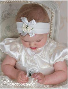 (EM-9) Stirnband für kleine Prinzessinen! In Champagner! - Princessmoda - Alles für Taufe Kommunion und festliche Anlässe
