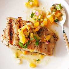 Grilled Halibut with Tomato, Green Olive, and Celery Sauce | MyRecipes.com Inspired by the flavors of both a Bloody Mary and Italian salsa verde, this easy, bright sauce works with almost any fish.
