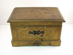 Vintage Gold Shabby Chic Musical Jewelry Box by VintageCreekside, $35.00