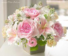 Clay handmade flowers Композиции : Букет с туберозой и английскими розами - В НАЛИЧИИ - Fito Art