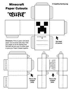 Make a Creeper Minecraft paper crafts template from Healthy Family.
