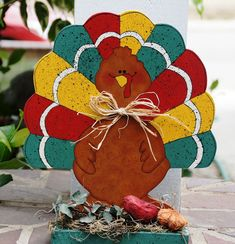Thanksgiving Turkey Wood Table, Mantle or Shelf Sitter - Fall or Autumn Decoration