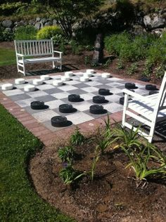 Human checkers in the back corner where the grass doesn't grow!!