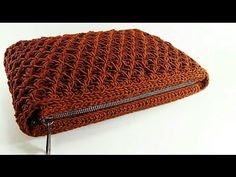 Beautiful CLUTCH bag with. Crochet Bag Tutorials, Crochet Videos, Macrame Bag, Micro Macrame, Crochet Stitches, Crochet Patterns, Crochet Wallet, Crochet Market Bag, Crochet Handbags