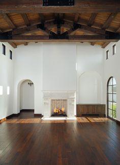 wood floor & wood ceiling