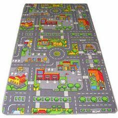 Kids Road map Rugs Large Playmat Childrens Cars Rugs Boys Girls Playroom Bedroom Rug