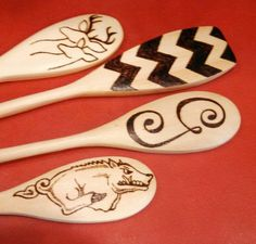 Wood Burned Spoons I love the deer one