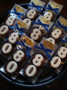 "Milk Chocolate Dipped Cookie Favors...  ""80th""...  www.rosebudchocolates.com"