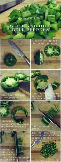 Neatly dice your bell peppers by slicing out their centers first. | Here's How To Chop Fruits And Vegetables Like A Pro