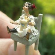 Taller Targioni Hand Made Tiny Doll & Bunny Rabbit on Chair Dollhouse Miniature