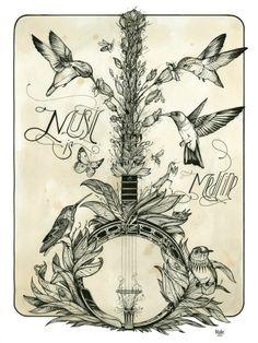 Music is Medicine // banjo // Love Hawk Tattoo Studio Hawk Tattoo, Fox Tattoos, Tree Tattoos, Deer Tattoo, Raven Tattoo, Tattoo Ink, Armor Tattoo, Sleeve Tattoos, Illustrations
