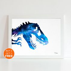 Dinosaurs Bones Blue 2 watercolor illustration art print, Tyrannosaurus rex, Dinosaur fossil, TRex, home decor,animal illustration, animal art,