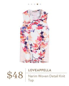 Stitch Fix: Loveappella Narim Woven Detail Knit Top - Great colors, cute floral and fun mixed materials.