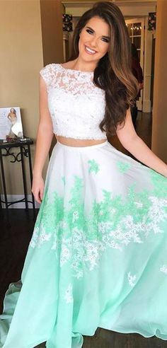 two piece long prom dress, white and mint
