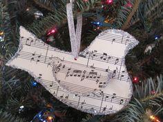 bird ornament with sheet music