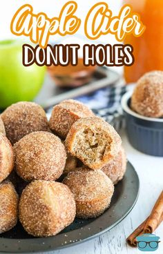 Love donuts but not the frying? These Apple Cider Donut Holes are baked in a mini muffin tin and coated with a delicious cinnamon sugar mixture! Homemade Donuts, Homemade Desserts, Apple Recipes, Fall Recipes, Yummy Recipes, Candy Recipes, Dessert Recipes, Donut Hole Recipe, Apple Cider Donuts