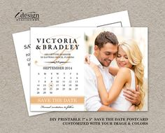 This printable calendar save the date postcard, features a beautiful calendar and monogram design on the left side of the card. On the right