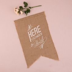 Natural Burlap Ceremony Sign White Print Here Comes The Bride