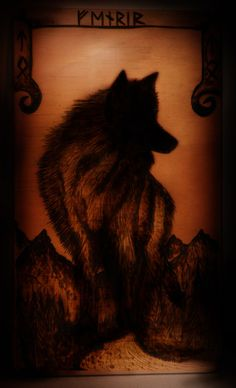 Fenrir - Wood Burning By Norseman Arts. Fenrir is a Norse mythological wolf monster.