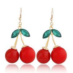 Toddler Red Cherry Shape Design Alloy Korean Earrings:Asujewelry.com
