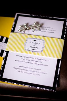 Yellow and Black striped wedding invitations created by CT-Designs - photographed by Allori Photography