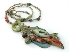 Artisan Necklace porcelain textile hemp linen pods