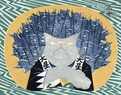 Chushingura by Tsuruya Kokei / 扇面流し 猫の忠臣蔵 弦屋光溪