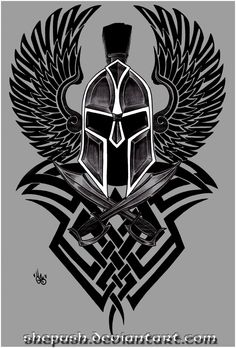 Spartan Helmet with wings and tribal design Forearm Tattoos, Body Art Tattoos, Tribal Tattoos, Tatoos, Calf Tattoo Men, Tattoo Sleeve Designs, Sleeve Tattoos, Gladiator Tattoo, Spartan Tattoo