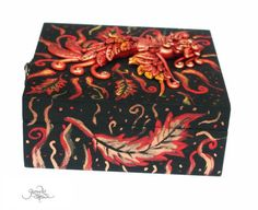 Phoenix bird treasure chest - phoenix sculpture - fire bird - flame - jewelry box - fantasy - magic box - phoenix feather - ooak figure - fimo art - hadmade - polymer clay by GloriosaArt