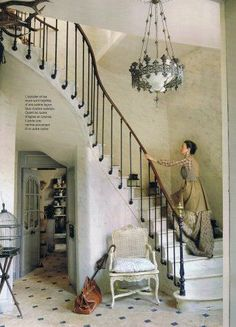 staircase with small cabouchon tiles Staircase Railings, Staircase Design, Stairways, Banisters, Old Cottage, Take The Stairs, House Stairs, Mediterranean Homes, Stairway To Heaven