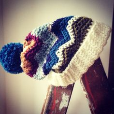 Ziggy Chevron Ski Hat with deep cuff and Bobble Handmade from The Alley Alley Oh in Manchester UK Find it here on Etsy: https://www.etsy.com/listing/210382125/ziggy-crochet-ski-hat-multi-coloured