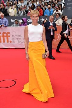 """Toni Collette stepped on to the red carpet in a stunning yellow floor-length skirt for the premiere of """"Miss You Already"""" in Toronto"""