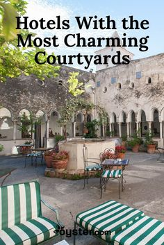 While a courtyard may not be a make-or-break factor in booking a hotel, it certainly tips the scale. After all, these private outdoor spaces provide a place to relax after a long day of sightseeing. Some even turn on the charm full force, and house refreshing pools, romantic flowers, and quaint decor. See for yourself -- here are 11 of the most charming hotel courtyards we wouldn't mind hiding out in.