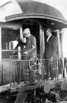 Henry Flagler disembarking the first train to Key West.  (January 22, 1912) | Florida Memory